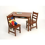 Lipper23.25 Rectangular Wooden Childs Table w/shelves & 2 Chairs-Cherry Finish (534C)