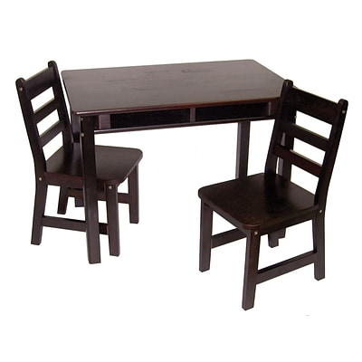 Lipper 23.25 Rectangular Wooden Childs Table w/shelves & 2 Chairs-Espresso  Finish (534E)
