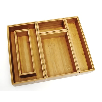 Lipper Bamboo 5pc set Of Org. Boxes consisting Of one each: 8180, 8181, 8182, 8184 & 8185 (88005)
