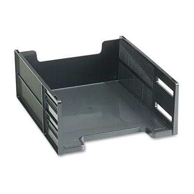 Rubbermaid  Stackable High Capacity Front Load Letter Tray  Polystyrene  Ebony (AZRUB17671)