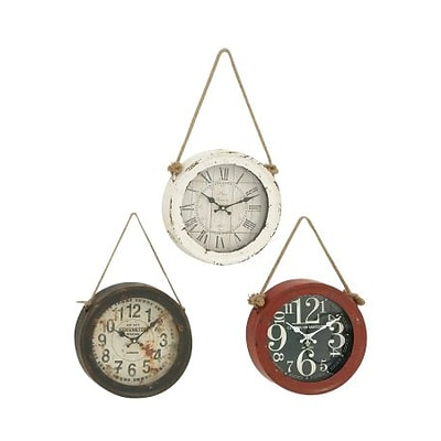 Benzara  Enthrallingly Styled 3 Assorted Metal Wall Clock (BNZ10091)