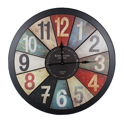 Benzara  Stunning Wooden Metal Wall Clock in Rustic Appeal (BNZ12211)