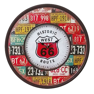 Benzara  Stunning and Rustic Wooden Metal Route 66 Wall Clock (BNZ12408)