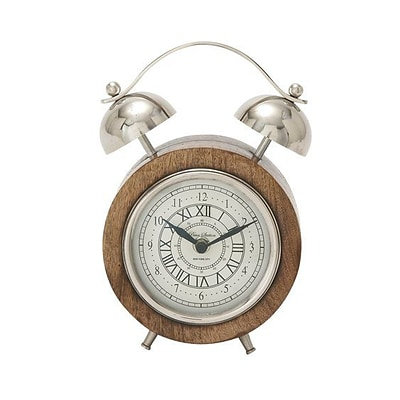 Benzara  Wood Stainless Steel Table Clock - 5 in. W (BNZ13466)