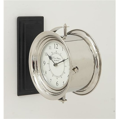 Benzara  Stylish Stainless Steel Wood Double Wall Clock - 12 in. W (BNZ13472)