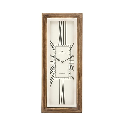 Benzara  Stainless Steel Wood Wall Clock - 11 in. W (BNZ13478)