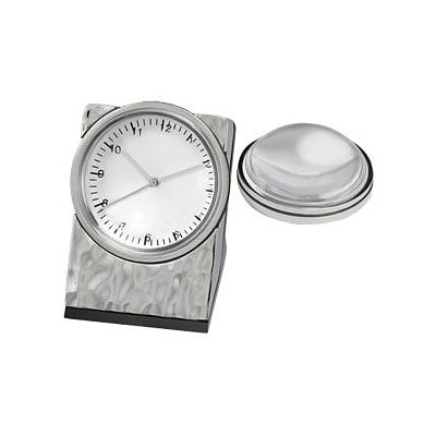 Chass 80938 Hammered Clock with Magnifier in Silver (CHAS050)