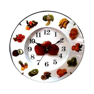 Creative Motion  Wall Clock - Round - Bountiful Fruit (CRML286)