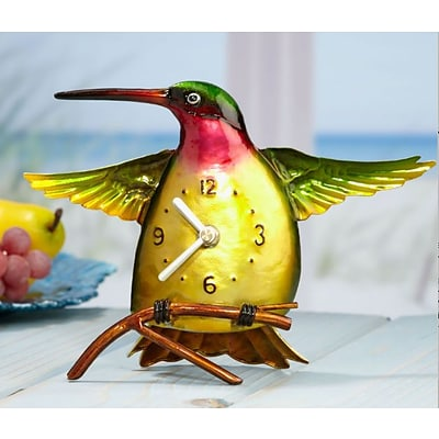Deco Breeze  Metal Colored Clock - Hummingbird (DCBR576)