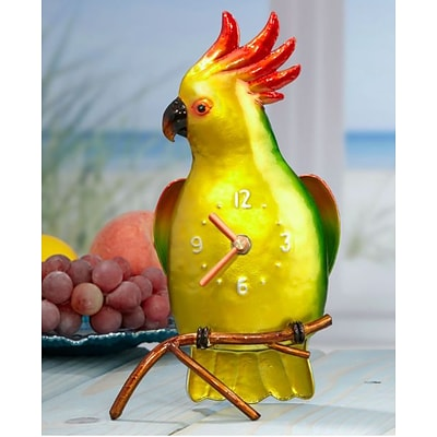 Deco Breeze  Metal Colored Clock - Cockatoo (DCBR577)