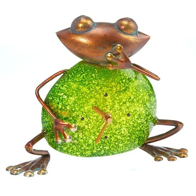 Deco Breeze  Metal Stone Colored Clock - Frog (DCBR582)