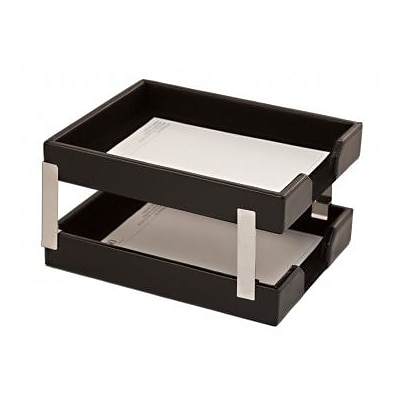 Dacasso  Econo-Line Double Letter Trays - Black Leather (DCSS397)