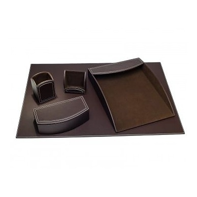 Dacasso  Faux Leather Office Organizing Desk Set - Espresso Brown (DCSS492)