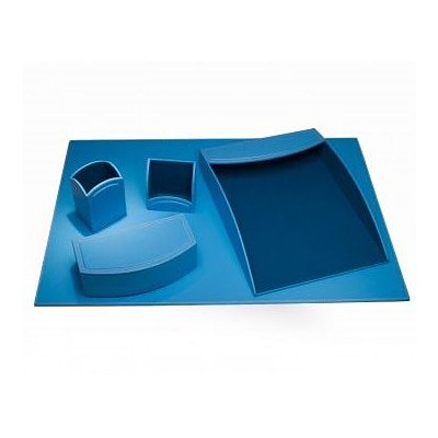 Dacasso  Faux Leather Office Organizing Desk Set - Sky Blue (DCSS495)