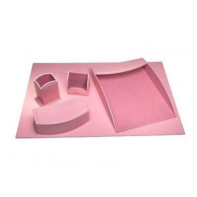 Dacasso  Faux Leather Office Organizing Desk Set - Cameo Pink (DCSS496)