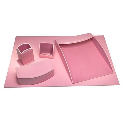 Dacasso Limited  Dacassocolors 5 Piece Faux Leather Office Organizing Desk Set, Cameo Pink (DCSS796)