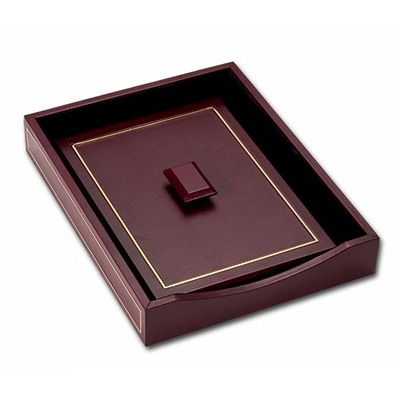 Dacasso Limited  Burgundy Leather 24 Kt Gold Tooled Letter Tray Wlid (DCSS921)