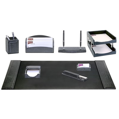 Dacasso Limited  Black Crocodile Embossed Leather 10 Piece Desk Set (DCSS976)