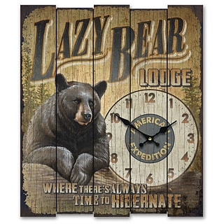 American Expedition  Lazy Bear Lodge Wooden Sign Clock (ID02547)