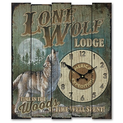 American Expedition  Lone Wolf Lodge Wooden Sign Clock (ID02552)