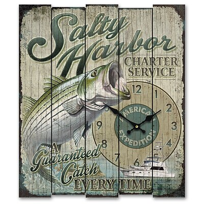 American Expedition  Salty Harbor Charter Service Wooden Sign Clock (ID02556)