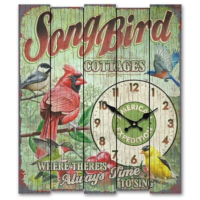 American Expedition  Song Bird Cottages Wooden Sign Clock (ID02558)