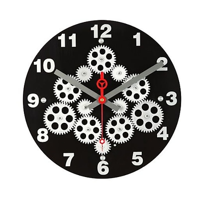 Maples Clock  12 in. Moving Gear Wall Clock with Black Plexy Dial (MPLS163)