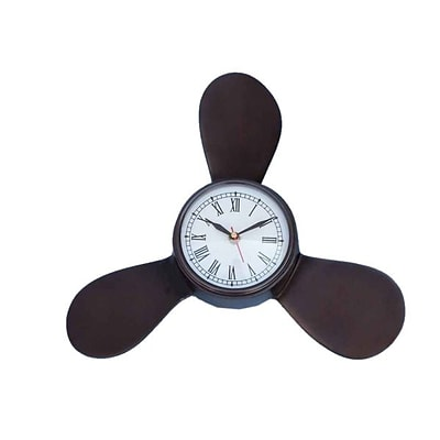 Handcrafted Model Ships  Antique Copper Decorative Ships Propeller Clock - 18 in. (RTL346808)