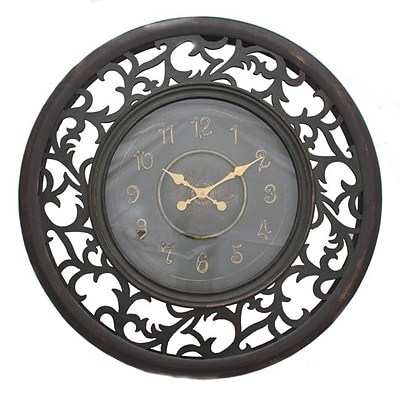 EcWorld Enterprises  Antique-Style Vine Leaf Pattern Wooden Wall Clock With Leaf Emblem (RTL355550)