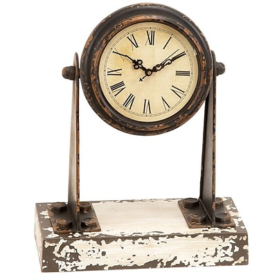 EcWorld Enterprises  Antique Style Weathered Miniature 12 In. Spotlight Mantle Clock (RTL355586)