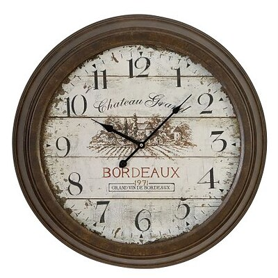 EcWorld Enterprises  Urban Designs Chateau Grand Weathered Vintage Classic Wall Clock (RTL355626)