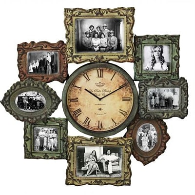 EcWorld Enterprises  Urban Designs Weathered Metal Wall Clock And Picture Frame (RTL355793)
