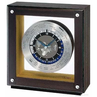 Seiko  World Time Mantel Clock - Dark Ebony Veneer - Quiet Sweep Second Hand (RWRDAMSE194)