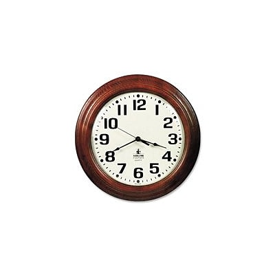 Skilcraft  Round Wall Clock,16 in. x 1.5 in.,Hardwood Frame,BK Print, MY Case (SPRCH41179)