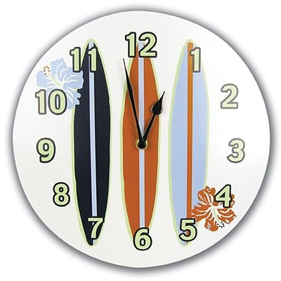 Trend Lab  Wall Clock- Circular Shape With Surfboards And Flowers (TREND1671)