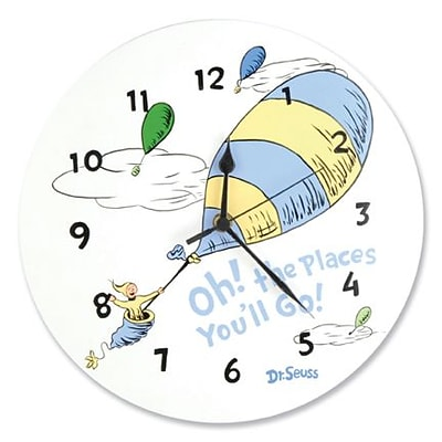 Trend Lab  Wall Clock - Dr. Seuss Blue Oh The Places YouLl Go (TREND2422)