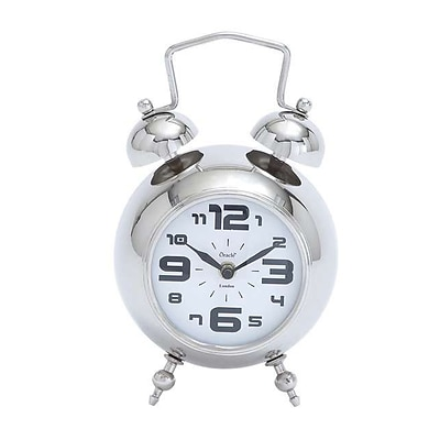 Woodland Import  Table Clock with Nickel Plated Finish (WLMGC6311)