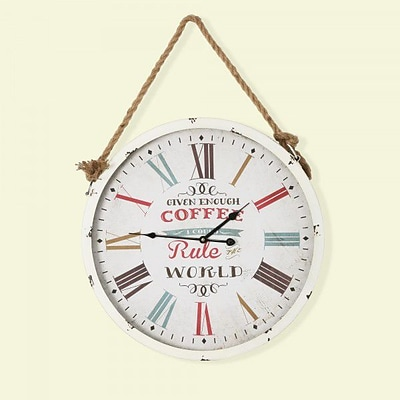 Yosemite Home Decor  Circular MDF Wall Clock With Rope - White (YSMT95259)