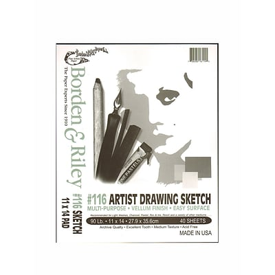 Borden  And  Riley #116 Artist Drawing/Sketch Vellum Pads 11 In. X 14 In. 40 Sheets Cloth Bound [Pack Of 2] (2PK-116P111440)