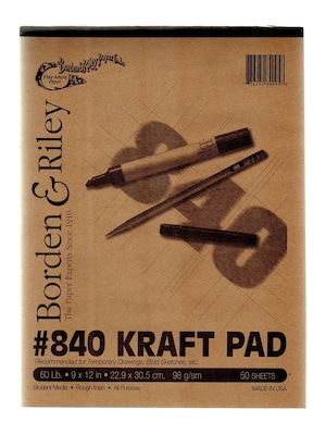 Borden And Riley #840 60 Lb Kraft Paper 9 In. X 12 In. 50 Sheets [pack Of 3] (3pk 840p091250)