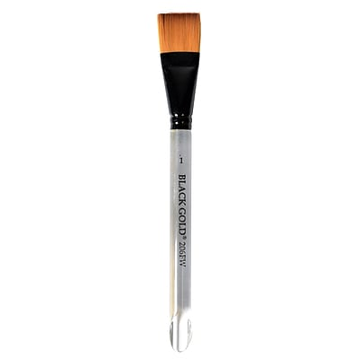 Dynasty Black Gold Series Synthetic Brushes Flat Wash Clear Acrylic Handle 1 In. (12258)