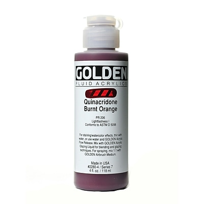 Golden Fluid Acrylics Quinacridone Burnt Orange 4 Oz. (2280-4)