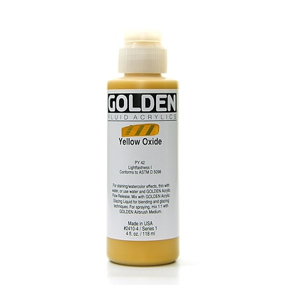 Golden Fluid Acrylics Yellow Oxide 4 Oz. [Pack Of 2] (2PK-2410-4)