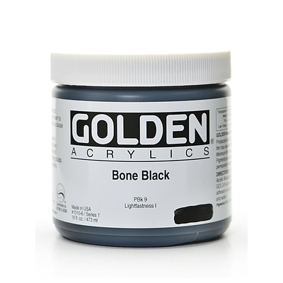 Golden Heavy Body Acrylics Bone Black 16 Oz. (1010-6)