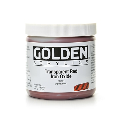 Golden Heavy Body Acrylics Transparent Red Iron Oxide 16 Oz. (1385-6)