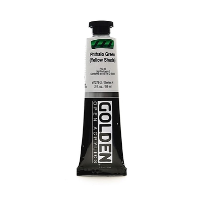 Golden Open Acrylic Colors Phthalo Green (Yellow Shade) 2 Oz. Tube [Pack Of 2] (2PK-7275-2)