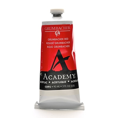 Grumbacher Academy Acrylic Colors Grumbacher Red 3 Oz. (90 Ml) [Pack Of 3] (3PK-C095)