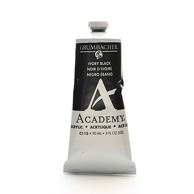 Grumbacher Academy Acrylic Colors Ivory Black 3 Oz. (90 Ml) [Pack Of 3] (3PK-C115)