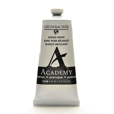 Grumbacher Academy Acrylic Colors Mixing White 3 Oz. (90 Ml) [Pack Of 3] (3PK-C248)