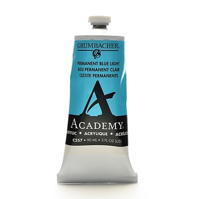 Grumbacher Academy Acrylic Colors Permanent Blue Light 3 Oz. (90 Ml) [Pack Of 3] (3PK-C257)